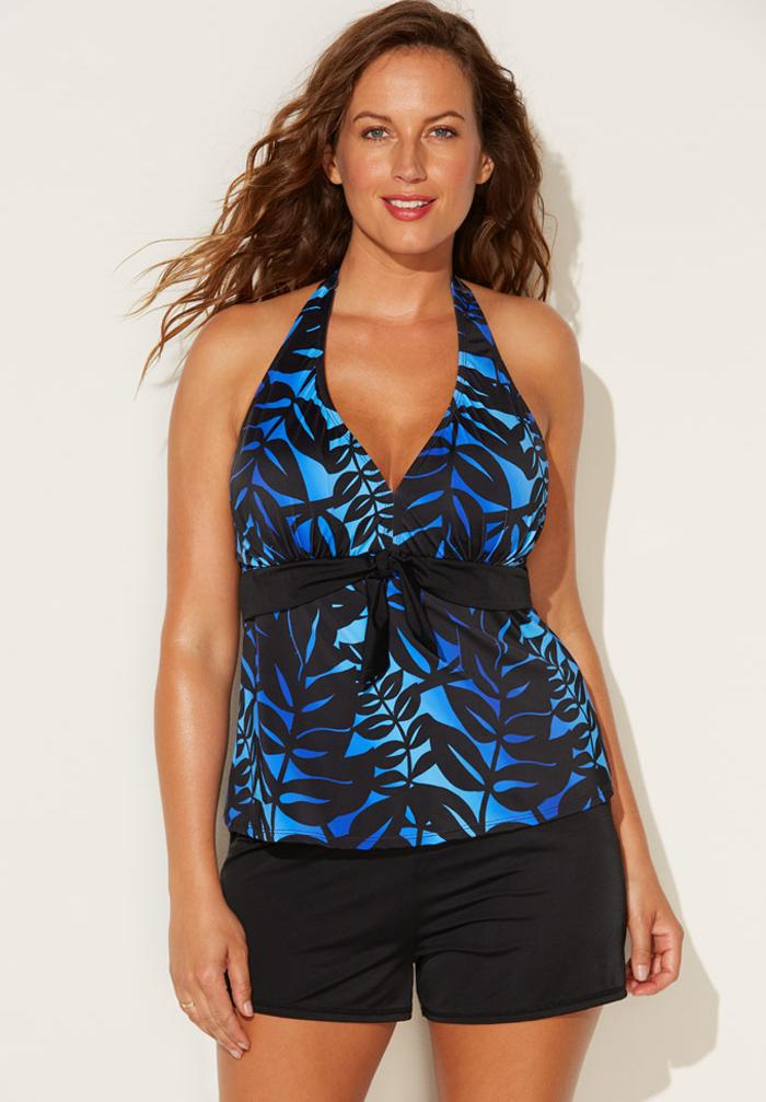 Halter Tankini Set with Banded Short,