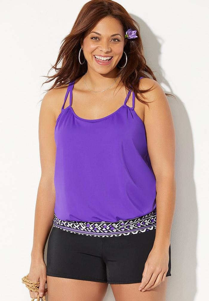 Loop Strap Blouson Tankini Set with Banded Short,