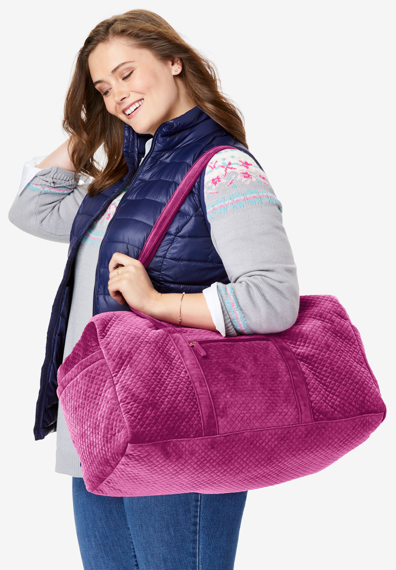 Quilted Velour Duffle Bag, RASPBERRY