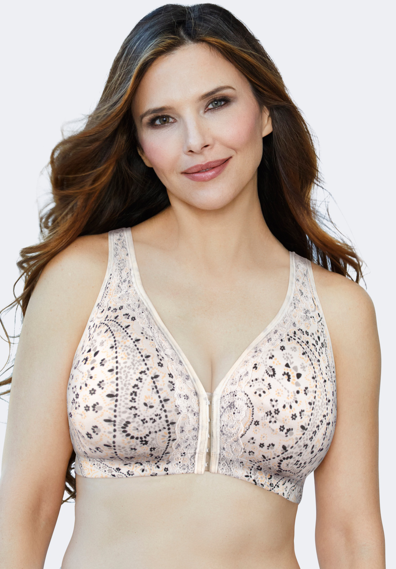 Cotton Comfort Front-Close No-Wire Bra with Lace,