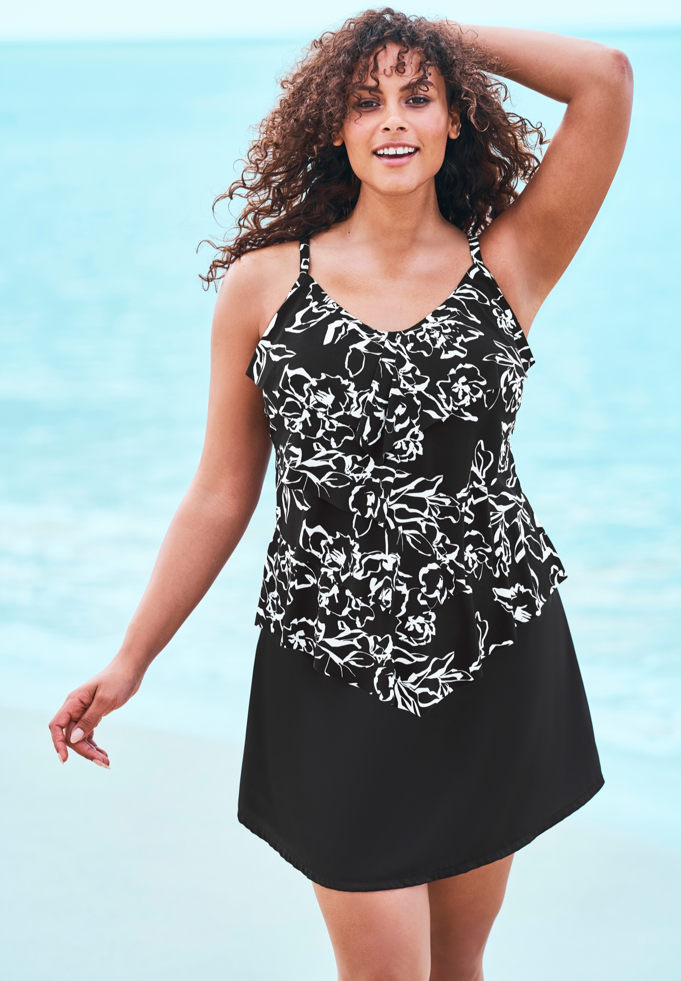 V-Neck Tiered Tankini ,