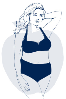 Apple body types are fullest along the bust, waist, back and tummy but narrower through the hips, rear and legs.