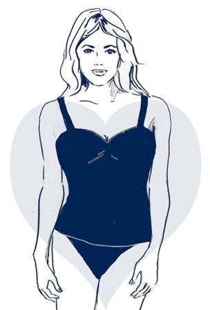 """You typically have """"more to love"""" up top. This body type is narrower along the hips and thighs and fuller through the shoulders and bust."""